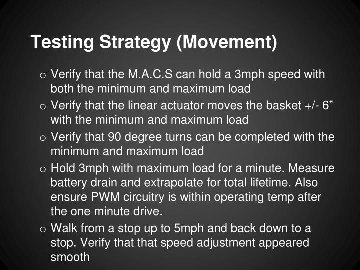 Testing Strategy (Movement)