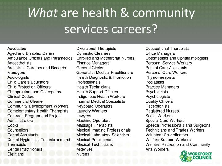 What are health community services careers1