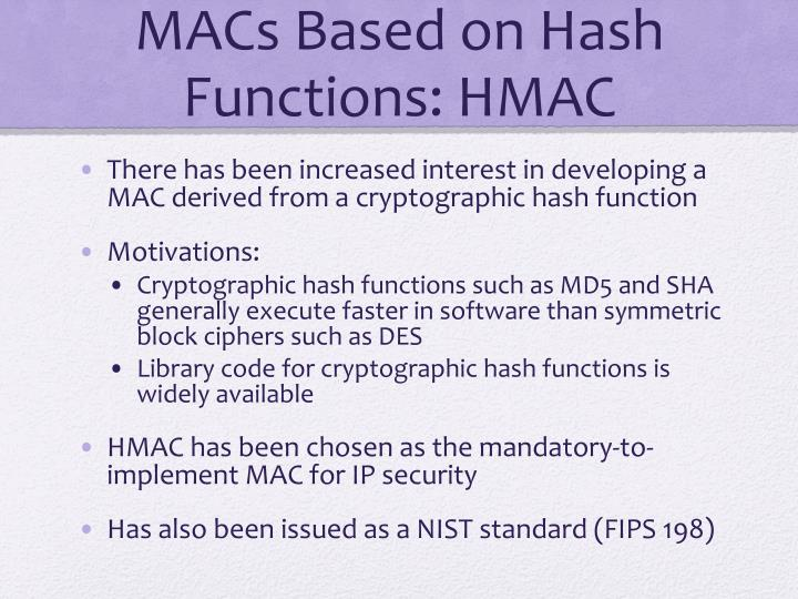 MACs Based on Hash Functions: HMAC