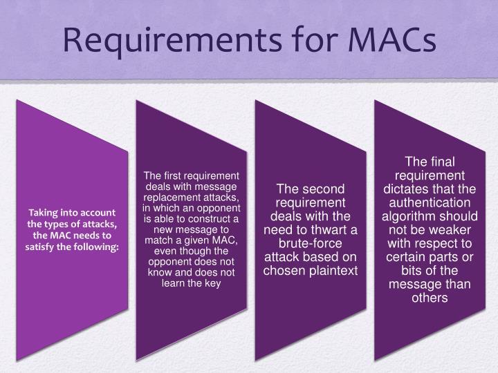 Requirements for MACs