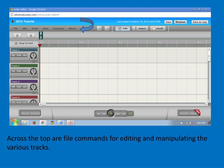 Across the top are file commands for editing and manipulating the various tracks.