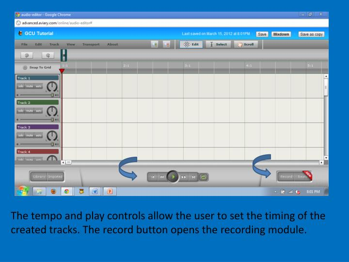 The tempo and play controls allow the user to set the timing of the created tracks