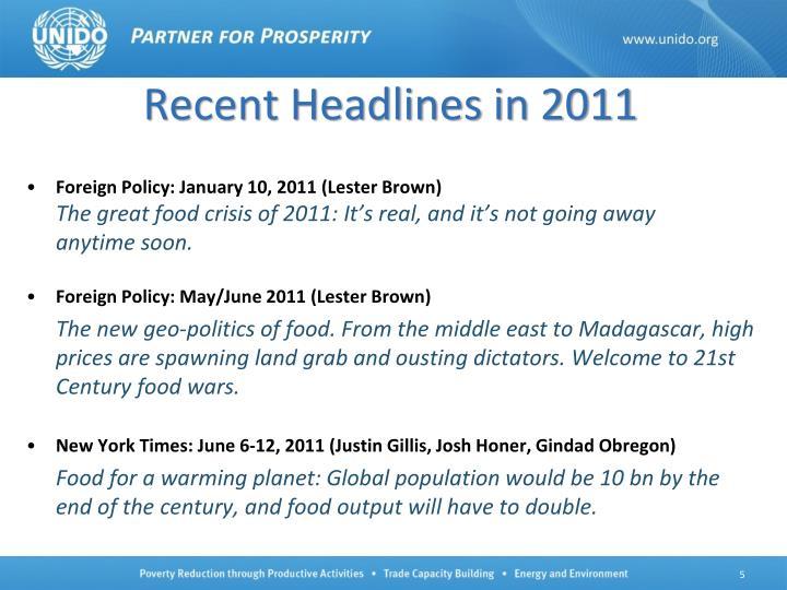 Recent Headlines in 2011