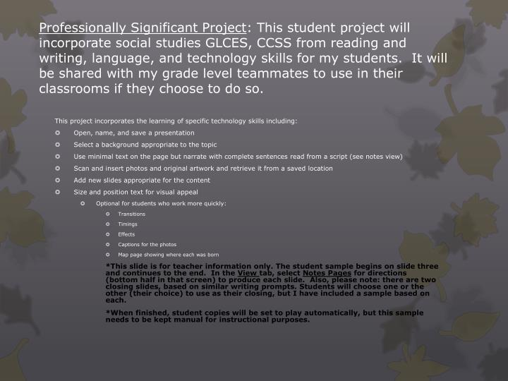 Professionally Significant Project