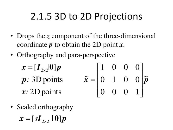 2.1.5 3D to 2D Projections