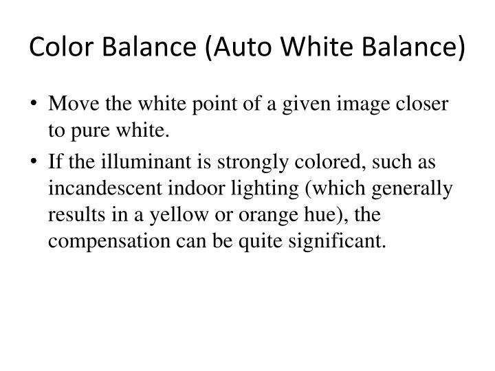 Color Balance (Auto White Balance)