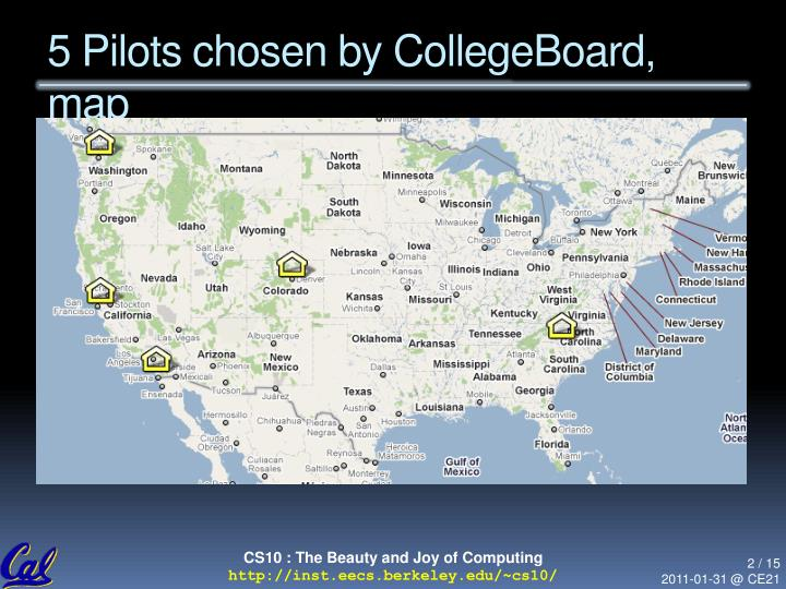 5 pilots chosen by collegeboard map