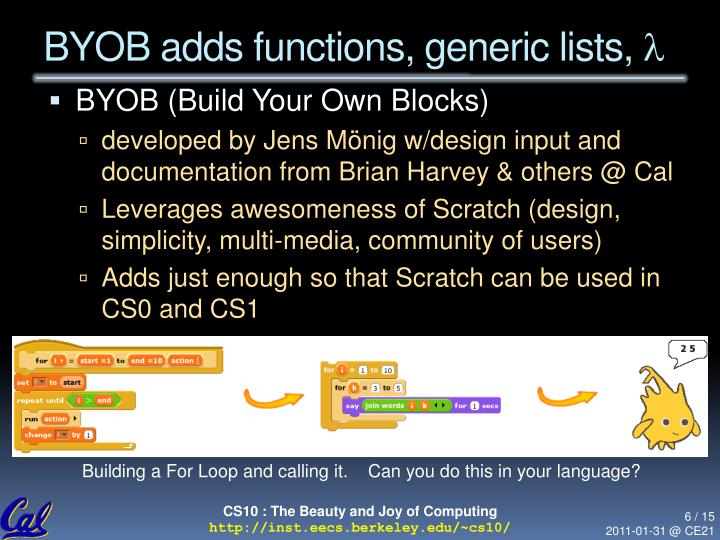 BYOB adds functions, generic lists,
