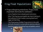 frog toad populations