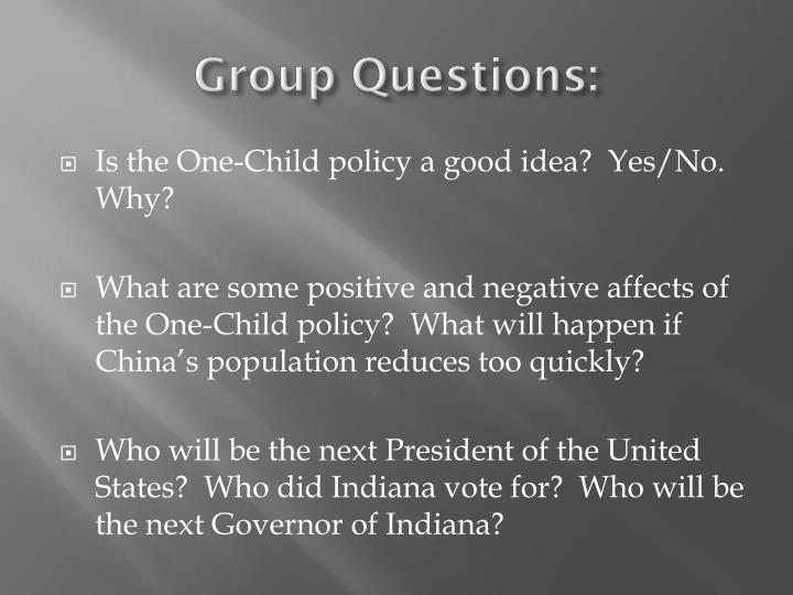 Group Questions: