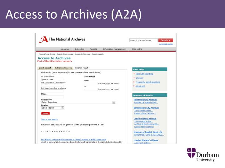 Access to Archives (A2A)
