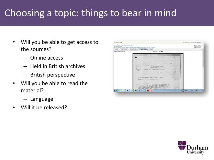 Choosing a topic: things to bear in mind
