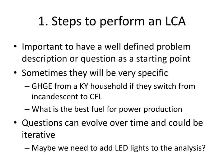 1. Steps to perform an LCA