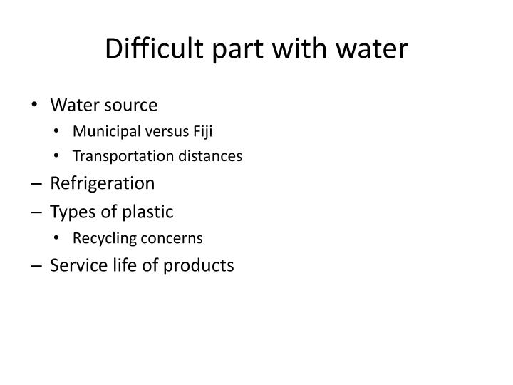 Difficult part with water