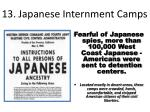 13 japanese internment camps
