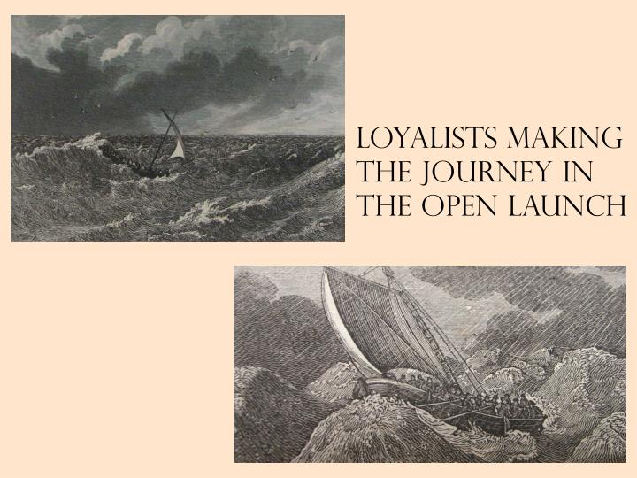 Loyalists making the journey in the open launch