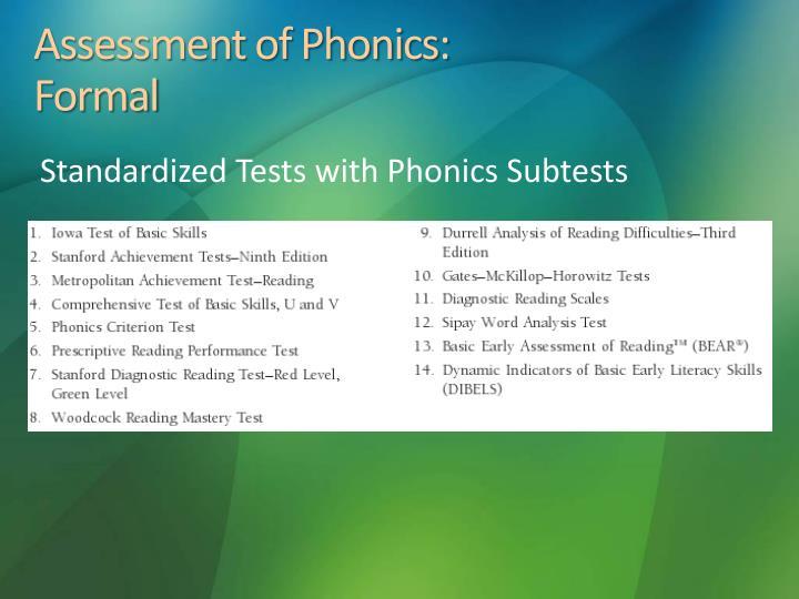 Assessment of Phonics: