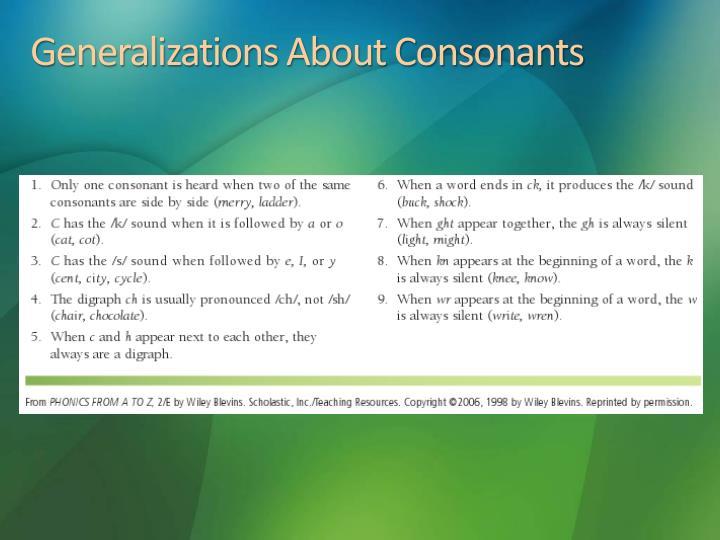 Generalizations About Consonants
