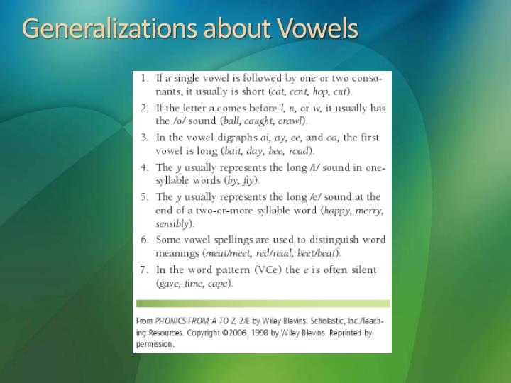 Generalizations about Vowels