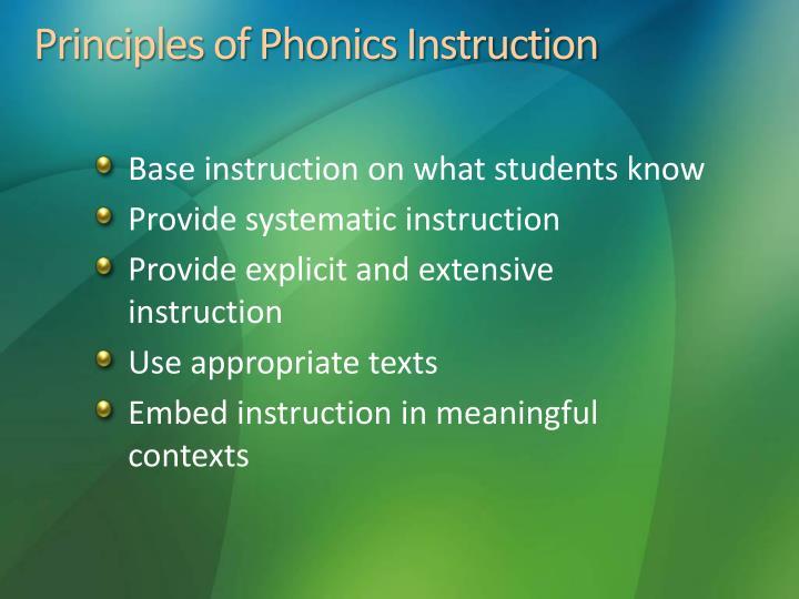 Principles of Phonics Instruction