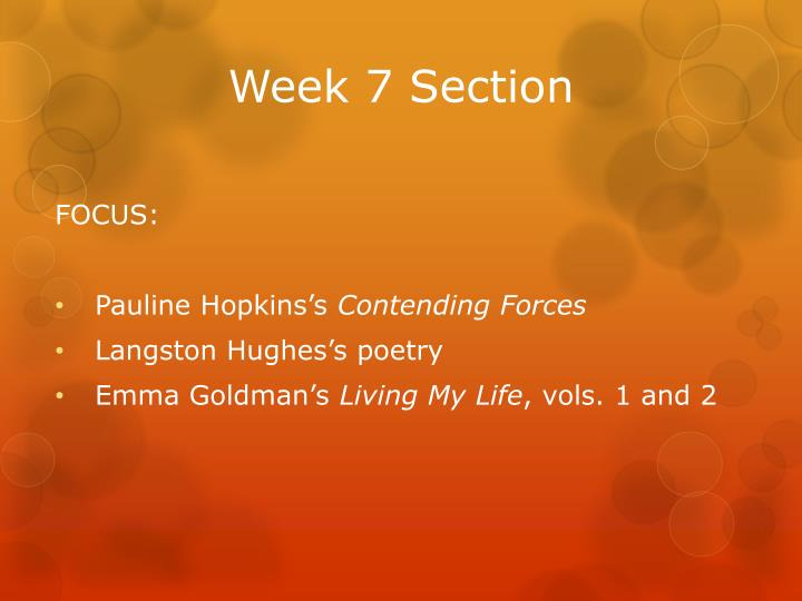 week 7 section