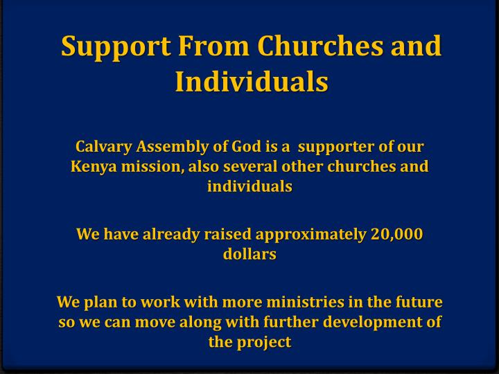 Support From Churches and Individuals