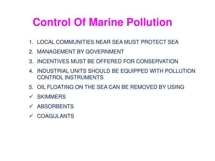 Control Of Marine Pollution