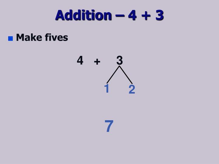 Addition – 4 + 3