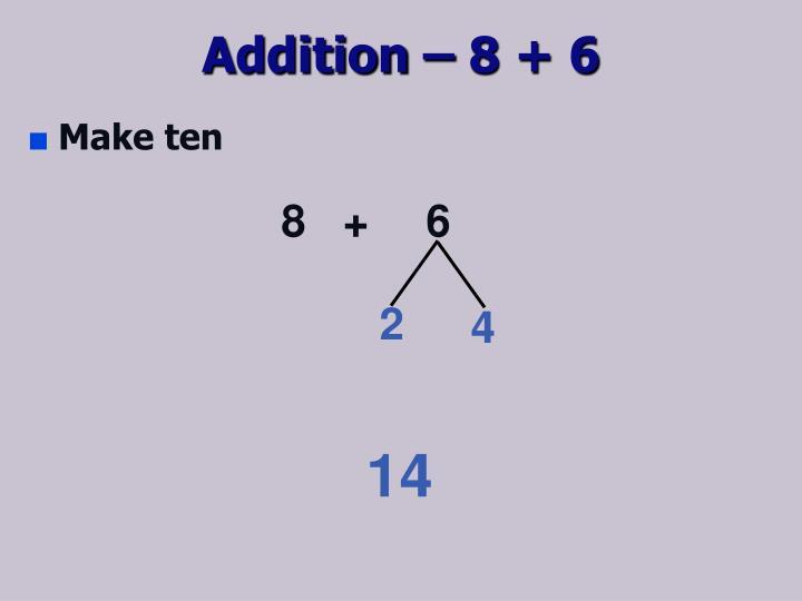 Addition – 8 + 6