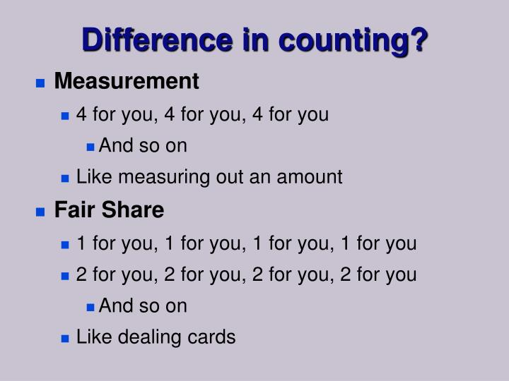 Difference in counting?