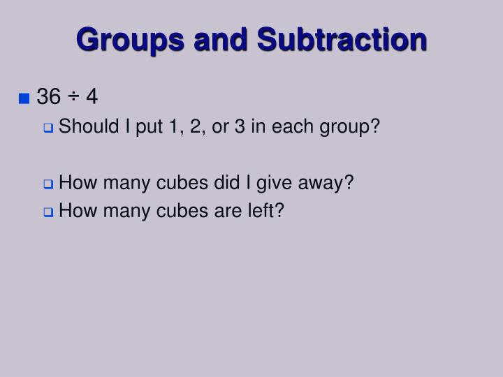 Groups and Subtraction