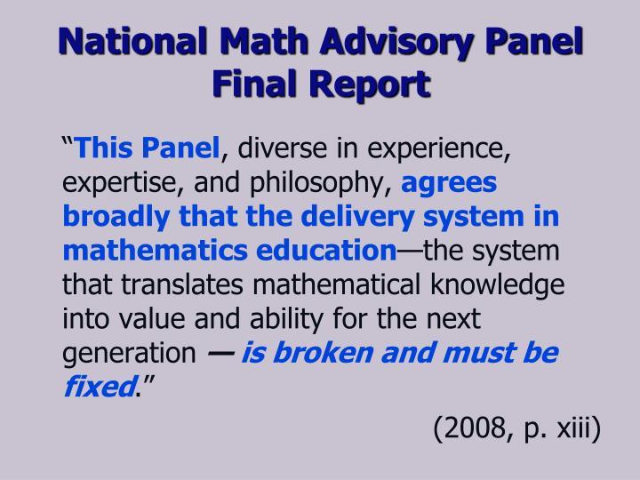 National Math Advisory Panel