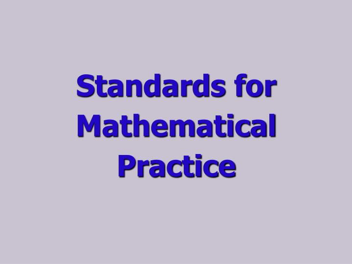 Standards for