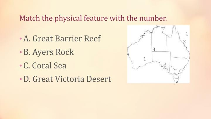 Match the physical feature with the number.