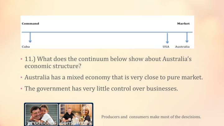 11.) What does the continuum below show about Australia's economic structure?