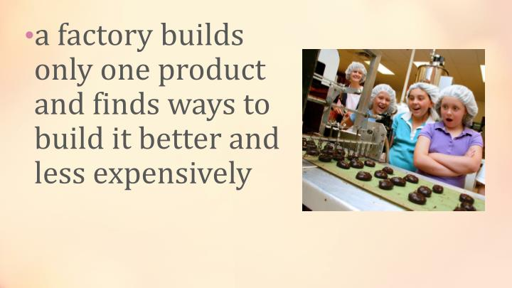 a factory builds only one product and finds ways to build it better and less expensively