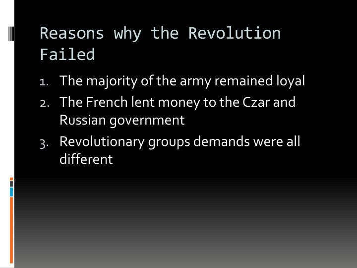 Reasons why the Revolution Failed