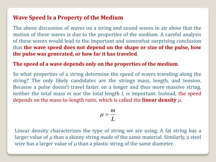 Wave Speed Is a Property of the Medium