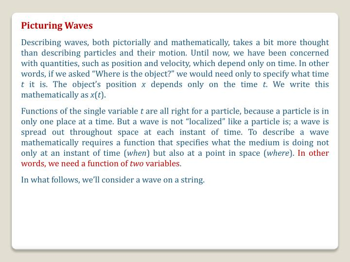 Picturing Waves