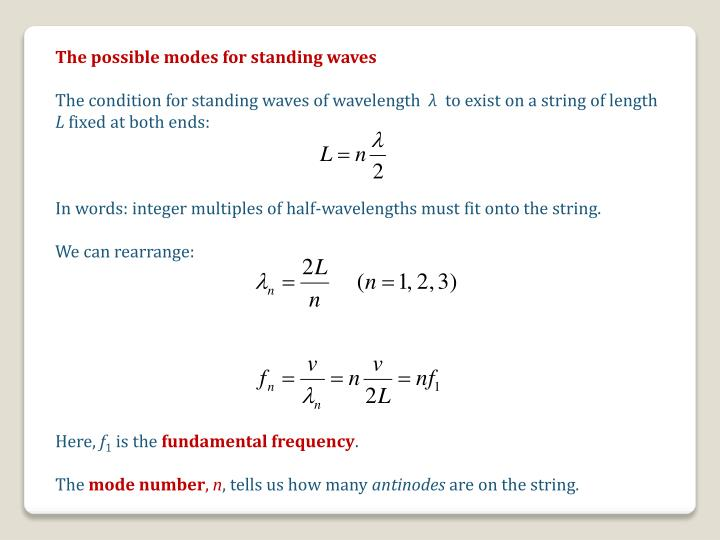 The possible modes for standing waves