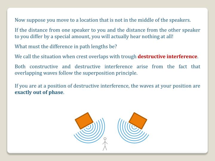 Now suppose you move to a location that is not in the middle of the speakers.
