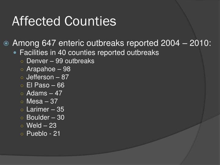Affected Counties