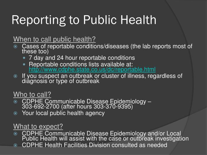 Reporting to Public Health