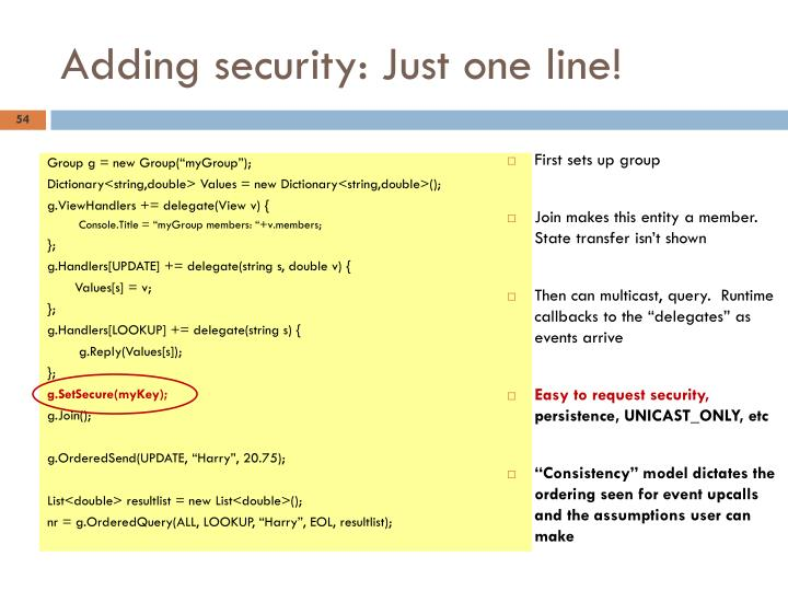 Adding security: Just one line!