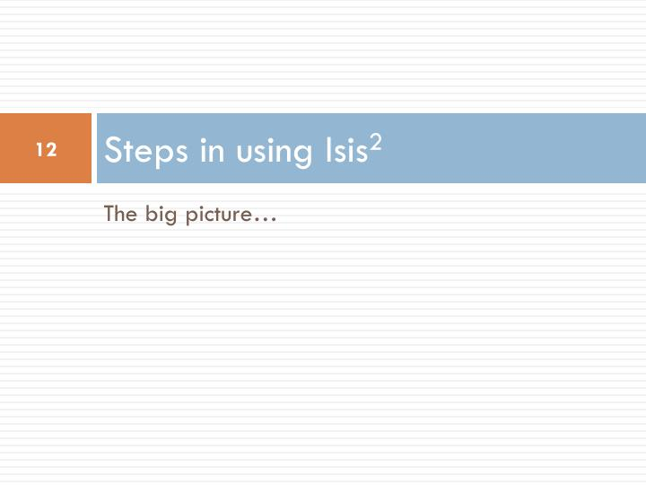 Steps in using Isis