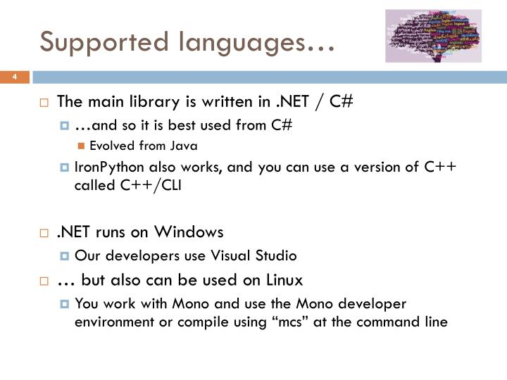 Supported languages…