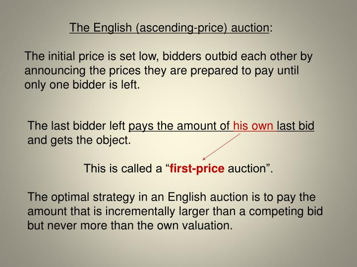 The English (ascending-price) auction