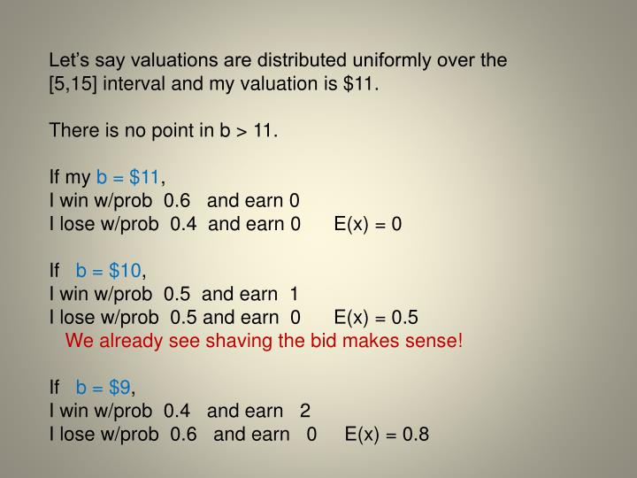 Let's say valuations are distributed uniformly over the [5,15] interval and my valuation is $11.