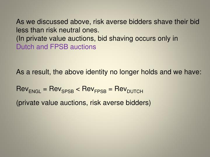As we discussed above, risk averse bidders shave their bid less than risk neutral ones.