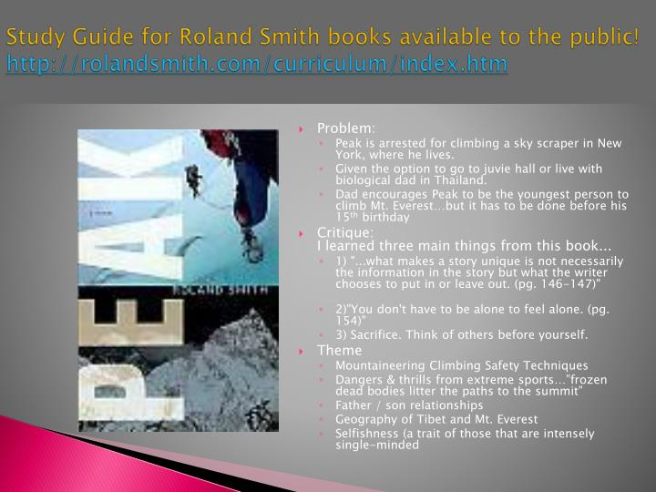 Study Guide for Roland Smith books available to the public!